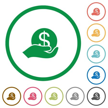 thrift: Set of save money color round outlined flat icons on white background