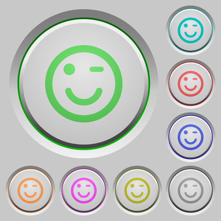 winking: Set of color Winking emoticon sunk push buttons.