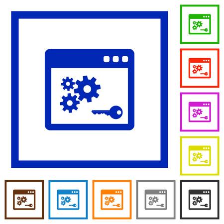 api: Set of color square framed API key flat icons