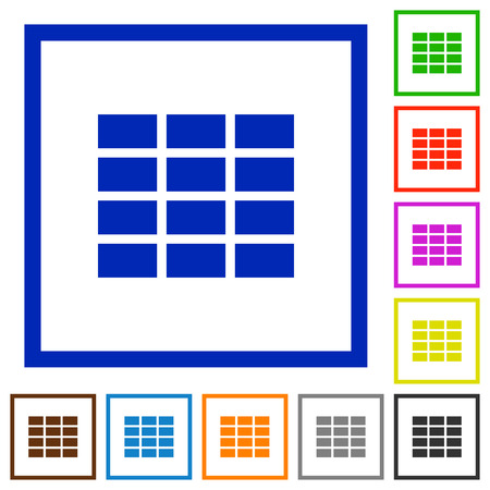 formatting: Set of color square framed spreadsheet flat icons