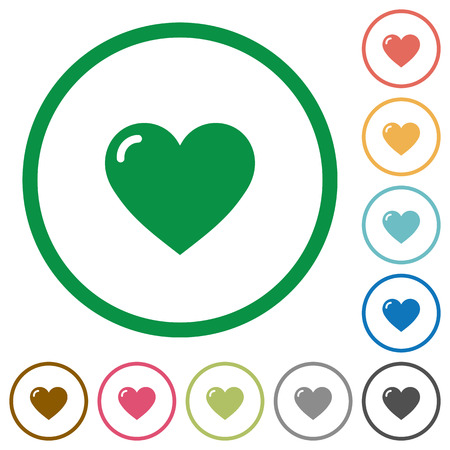 Set of heart shape color round outlined flat icons on white background Illustration