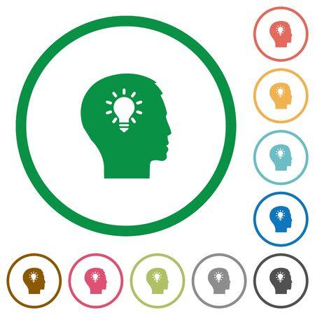 lumen: Set of idea color round outlined flat icons on white background Illustration