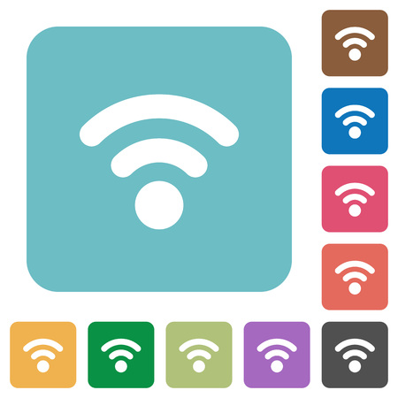 attenuation: Flat radio signal icons on rounded square color backgrounds.