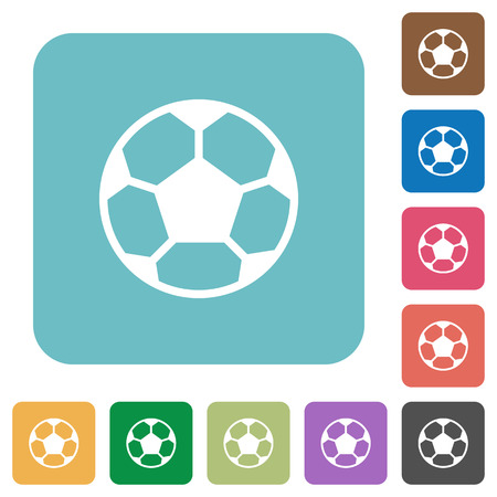 dexterity: Flat soccer ball icons on rounded square color backgrounds.