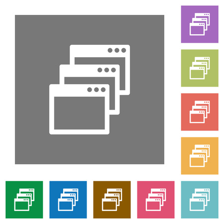 gradual: Cascade window view mode flat icon set on color square background.