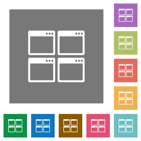 window view: Mosaic window view mode flat icon set on color square background. Illustration