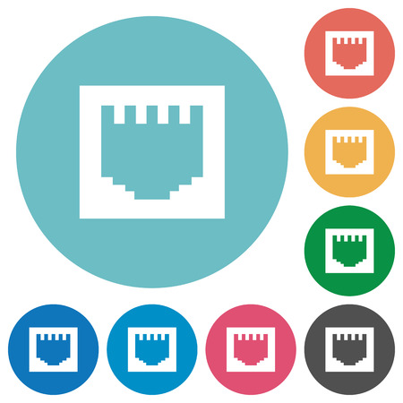 Flat ethernet connector icon set on round color background.