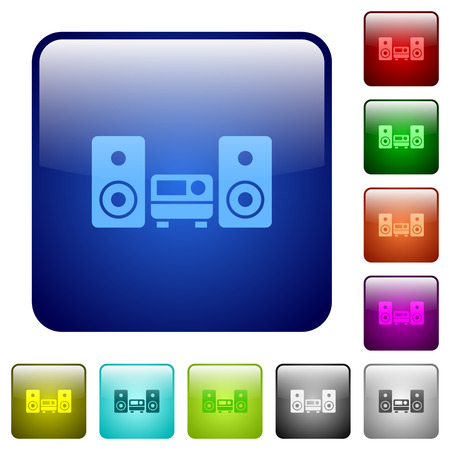 hifi: Set of hifi color glass rounded square buttons Illustration