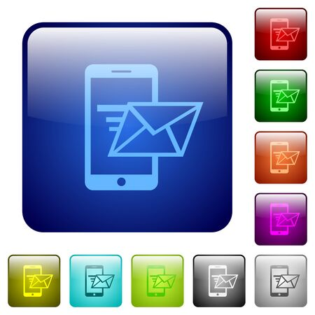 sending: Set of sending email color glass rounded square buttons