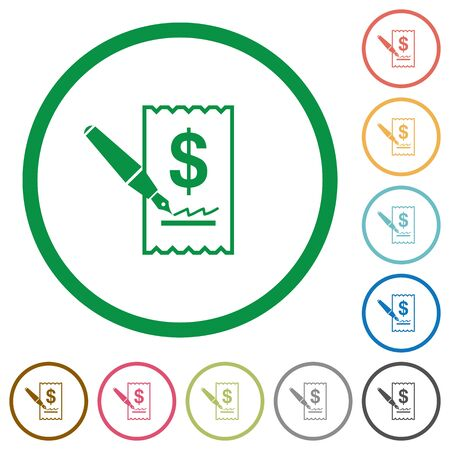 signing: Set of cheque signing color round outlined flat icons on white background Illustration