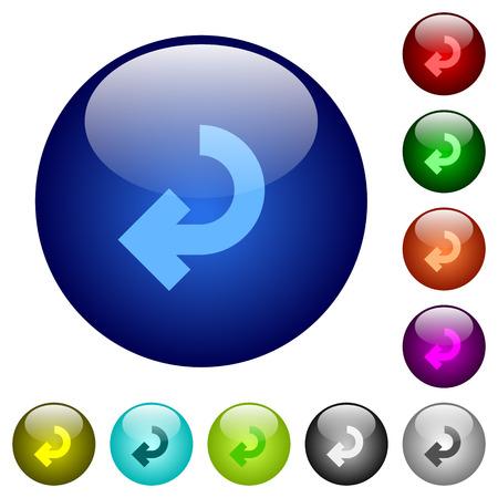 enforce: Set of color return arrow glass web buttons.