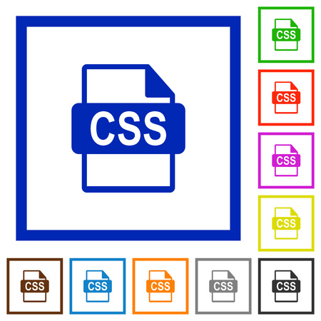 filetype: Set of color square framed CSS file format flat icons Illustration