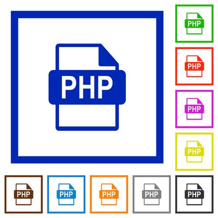 filetype: Set of color square framed PHP file format flat icons Illustration