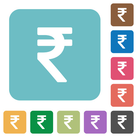 rounded: Flat Indian Rupee sign icons on rounded square color backgrounds. Illustration