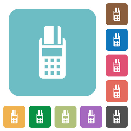 cardreader: Flat POS terminal icons on rounded square color backgrounds.