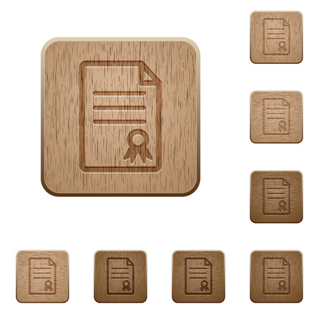 variations set: Set of carved wooden certificate document buttons in 8 variations.