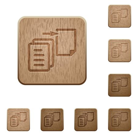 alter: Set of carved wooden move file buttons in 8 variations.