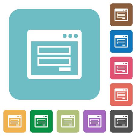authorisation: Flat login window icons on rounded square color backgrounds. Illustration