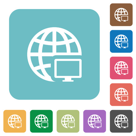 Flat remote terminal icons on rounded square color backgrounds. Illustration