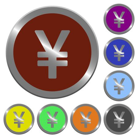 yen sign: Set of color glossy coin-like Yen sign buttons