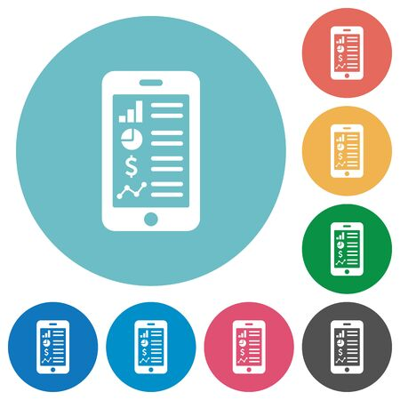 mobile application: Flat mobile application icon set on round color background.