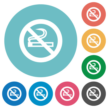 unsanitary: Flat no smoking icon set on round color background.