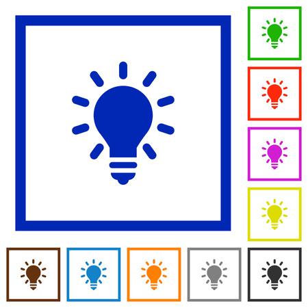 lighting bulb: Set of color square framed lighting bulb flat icons Illustration