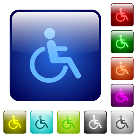 limitations: Set of disability color glass rounded square buttons
