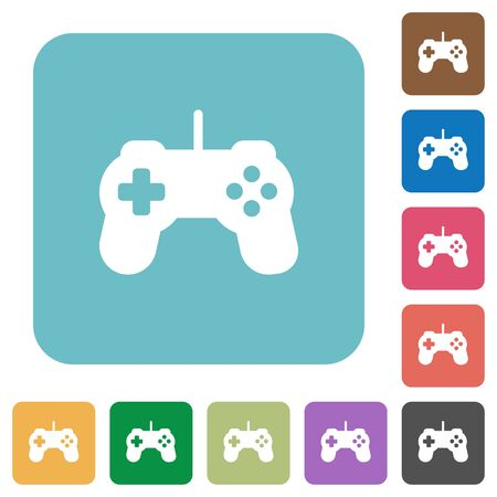 controling: Flat game controller icons on rounded square color backgrounds.