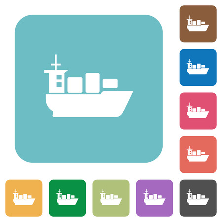 sea transport: Flat sea transport icons on rounded square color backgrounds.