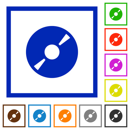 dvdrw: Set of color square framed DVD disk flat icons