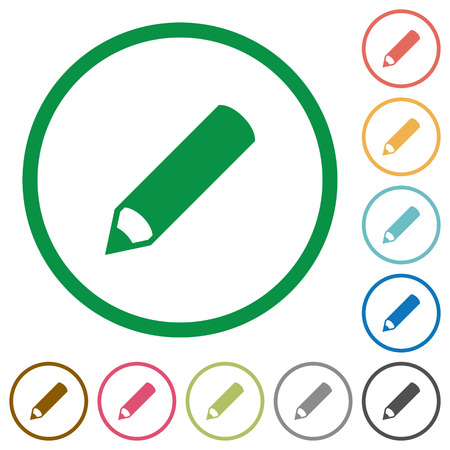 modification: Set of pencil color round outlined flat icons on white background