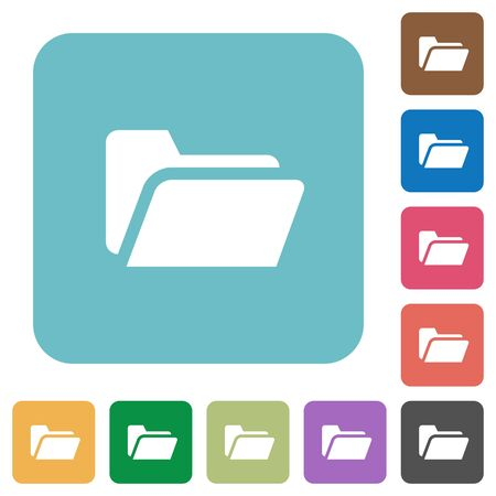 repository: Flat folder open icons on rounded square color backgrounds. Illustration