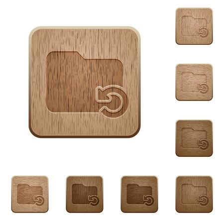 undo: Set of carved wooden Undo folder operation buttons in 8 variations.