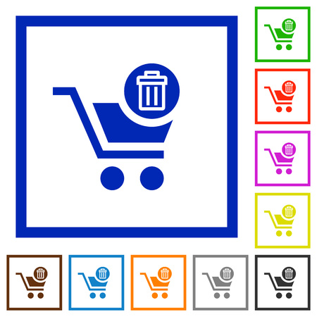 rubbish cart: Set of color square framed delete from cart flat icons Illustration