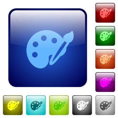 rounded: Set of paint color glass rounded square buttons Illustration