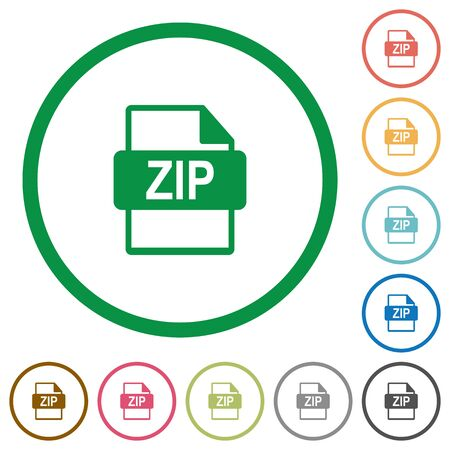 datasets: Set of ZIP file format color round outlined flat icons on white background Illustration