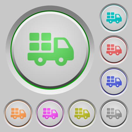 shipper: Set of color transport sunk push buttons.