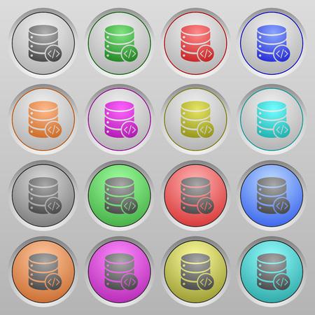 mysql: Set of database programming plastic sunk spherical buttons.