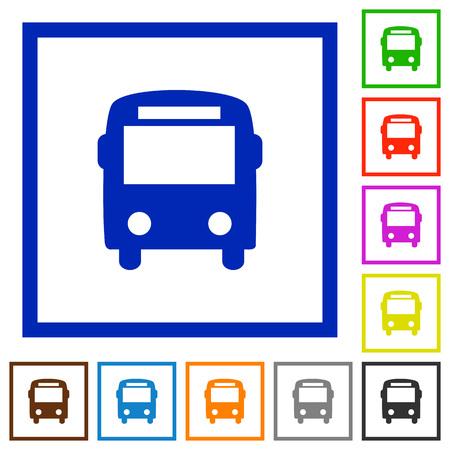 omnibus: Set of color square framed bus flat icons