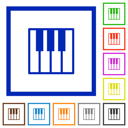 tact: Set of color square framed piano keyboard flat icons Illustration