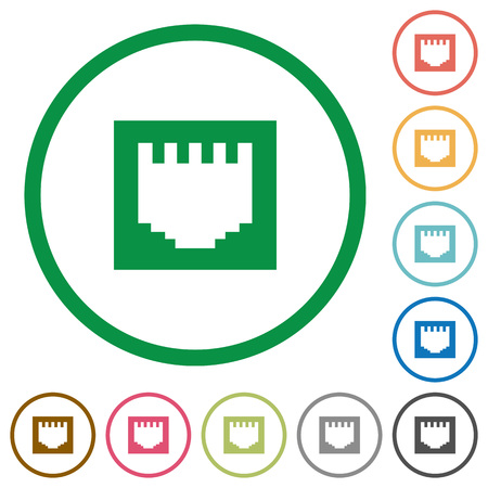 electronical: Set of ethernet connector color round outlined flat icons on white background