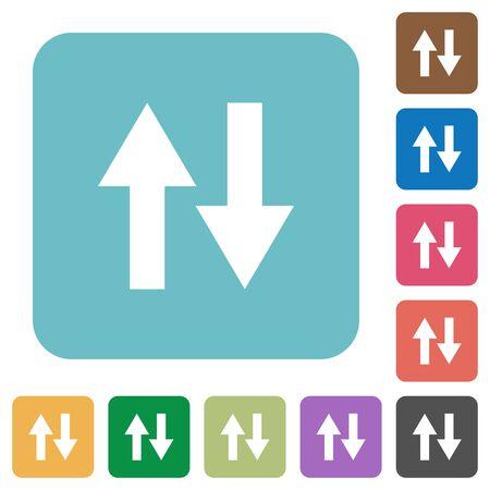 kilobyte: Flat data traffic icons on rounded square color backgrounds. Illustration