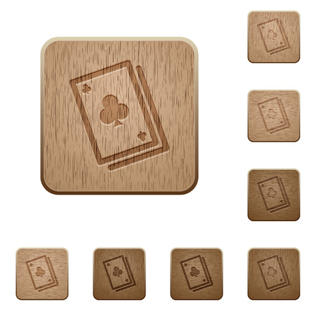 cheater: Set of carved wooden card game buttons in 8 variations.