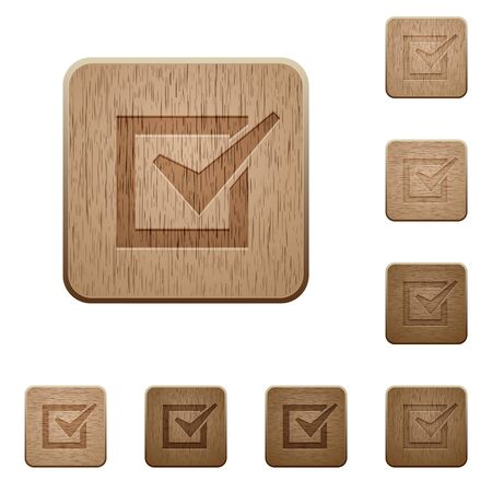 variations set: Set of carved wooden checked box buttons in 8 variations.