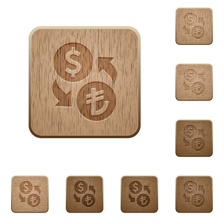 lira: Set of carved wooden Dollar Lira exchange buttons in 8 variations. Illustration