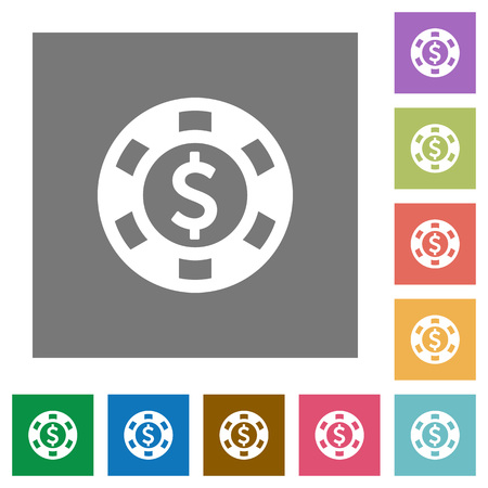 american roulette: Dollar casino chip flat icon set on color square background. Illustration