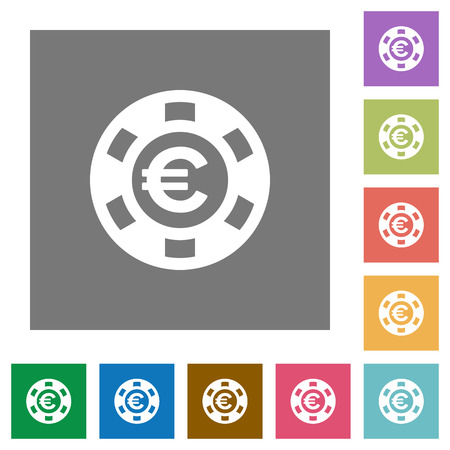 chip set: Euro casino chip flat icon set on color square background. Illustration