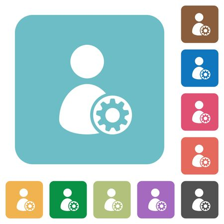 application icons: Flat user account settings icons on rounded square color backgrounds.