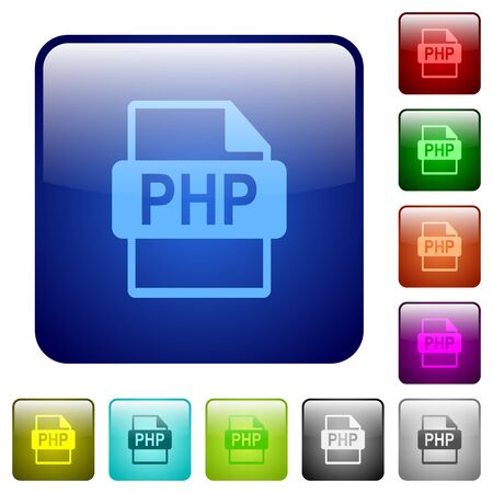 php: Set of PHP file format color glass rounded square buttons Illustration